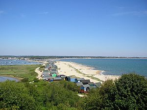 Mudeford Sandbank, dividing Christchurch Harbour and Bay, taken from Hengistbury Head