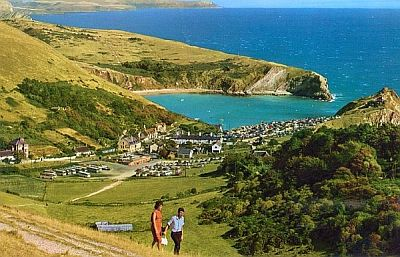 Lulworth Cove, a 1950s-oldcolourpostcard.